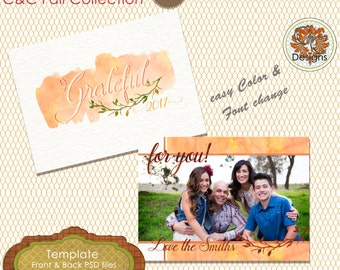 Grateful Fall Photo Card. ***Instant Download*** Autumn Photo Card