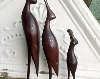 Vintage Hand Carved Wood Crane Birds Set of Three MidCentury Style