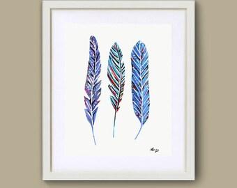 Sale - Blue Feather art - digital download