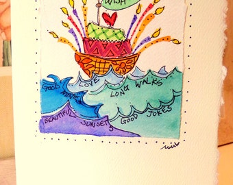"Wish Boat Birthday Cake Watercolor Original Card ""Big Card"" 5x7 With Matching Envelope  betrueoriginals"