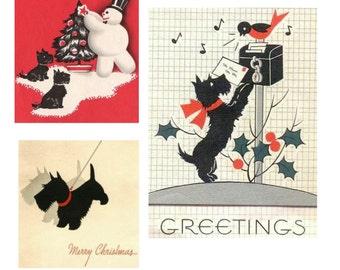 Digital Images Vintage Christmas  Scottie Dog Westie Terrier  Retro Cards Scrapbook Gift Tags