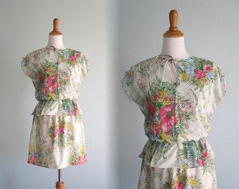Bright Floral Jersey Mini Dress - Vintage 70s Garden Party Dress with Peplum - Vintage 1970s Dress S M