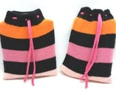 Pretty in Pink Stripes Flask Jacket, Cozy, Cover, Warmer, Sweater, Hip, Pocket, Purse, Liquor, Upcycled, Recycled Sock, Gray, Orange, Blue
