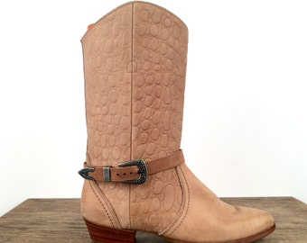 vintage 80s SOUTHWESTERN dexter EMBOSSED leather BUCKLE boots 7