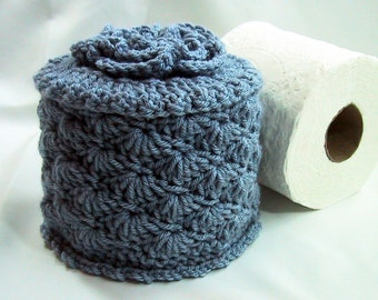 Toilet Paper Cozy w- Flower on Top - TP Cover - Cover Your Spare - Hand Crocheted - Stonewash Blue - Acrylic Yarn - Bed & Breakfast Decor