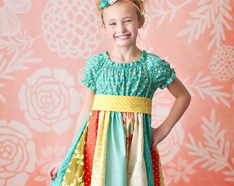 SALE- Girls Spring Dress- Girls Sorbet Strip Skirt Peasant Dress - by Melon Monkeys- 2016 Collection