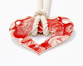 Red heart statement necklace ceramic pendant - ceramic jewelry, gift for her, heart pendant, statement jewelry, boho jewelry