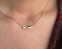 14k Solid Gold Tiny Name Necklace / Personalized Gold Name Necklace / Christmas Gift / Mothers Gift