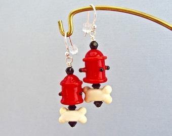 Fire Hydrant with Bone Earrings - Handmade Lampwork Glass SRA