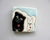 Animal Art, Small, Black Bear Loves Bunny Mini Wall Art, White and Blue Ceramic Wall Tile, Home Decor, Woodland Animal Art Pottery