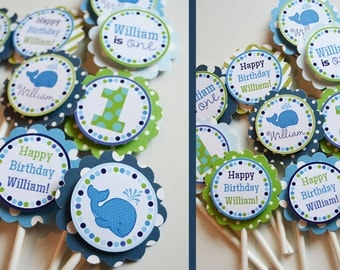 Blue Whale Birthday Party Cupcake Toppers Fully Assembled Decorations