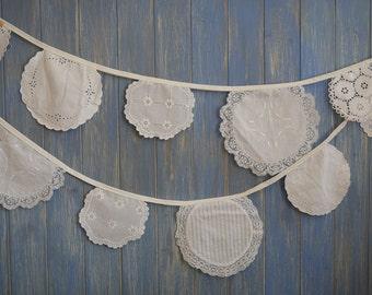 Vintage Linen Bunting. Wedding Garland // Wedding Bunting // Vintage Bunting // Vintage Wedding Decor // Shabby Chic Bunting.