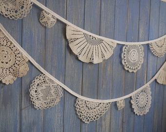 Vintage Doily Bunting. Wedding Bunting. A beautiful 3.5m strand made out of gorgeous doilies.