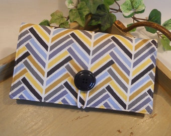 "CHECKBOOK Cover...in ""Madrona Road"" with Button and Elastic Closure, Vinyl ID Window and Pen Loop"