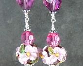 Purple Pink Floral & Amethyst Crystal Long Dangle Earrings, Flower Earrings, Lampwork Glass Earrings,  Cottage Chic Jewelry,  Romantic Gift