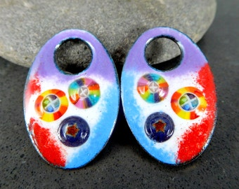 Colorful Off Set Oval Enamel Earring Charms, Rainbow Murrini, Bright Colors, Enameled Copper Earring Pair, Earring Beads, Pendants, Drops