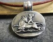 Greek Mythology Silver Pendant Europa and the Bull