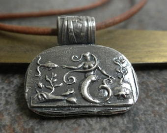 Mermaid Jewelry Silver Pendant Sea Life Necklace