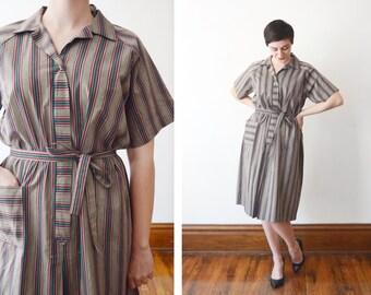 1960s Green Striped Smock Dress - L/XL