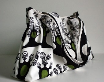 black friday 20% off // canvas shoulder bag // pleated purse // funky trees // the foxtrot bag // READY TO SHIP