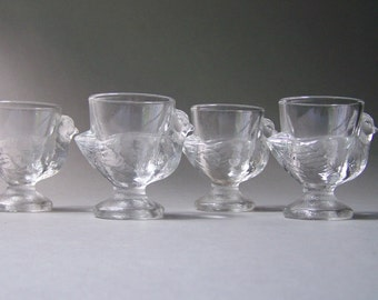 Set of 4 Vintage Egg Cups Clear Glass Chicken Shaped Unique Tea Light Holders