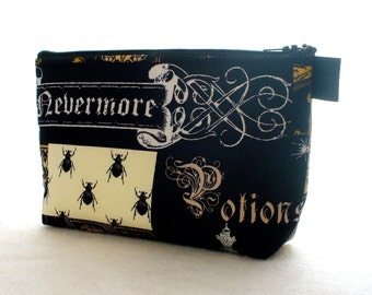 Poe Nevermore Fabric Large Cosmetic Bag Fabric Zipper Pouch Makeup Bag Zip Pouch Halloween Potions Bugs Vampire Bat Raven Sleepy Hollow