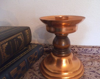 Vintage copper and Wood Candle Stick ~ Beautiful