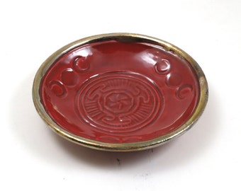Hekate's Wheel Raku Bowl in Red Vermilion Handmade PotteryMAKE ONE