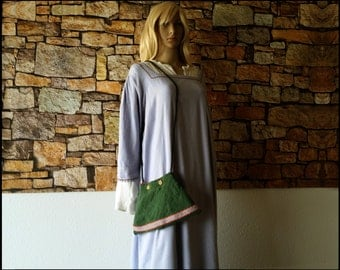 Green Medieval Purse with Tablet Weaving