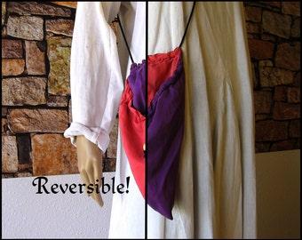 Silk Pink & Purple Reversible Drawstring Purse, Dice Bag