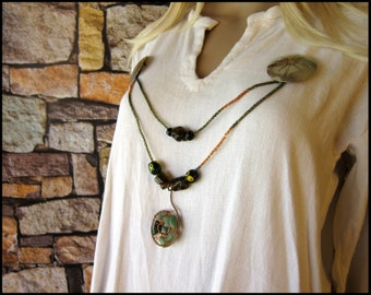 Viking Knit Bead Strand - Green Stone and Copper Spiral Pendant
