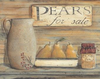 Kitchen Wall Decor,Primitive Kitchen Wall Decor,Country Kitchen Wall Decor,Pears,16x12,Pam Britton
