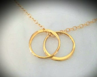 Christmas gift Gold circle double hoops necklace bridesmaids gifts, mother daughter, husband and wife,wedding entwined 14k gold