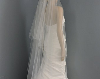 Wedding Veil Drop Veil Waltz Length with Pencil Edge, Bridal Veil DV30X55PE