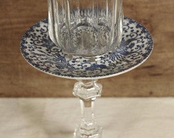Anthropologie inspired Candle Holders * blue china * glass * delft * navy blue