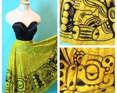 Vintage 1950s Mexican Full Circle Skirt Hand Painted M/L