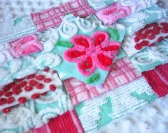 Vintage Chenille Bedspread Squares-Hot Pink, Aqua, Red-Pretty