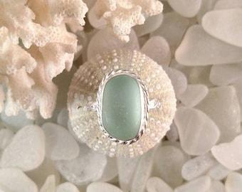 Sea Glass Ring Seafoam Sea Glass Silver Ring Size 8