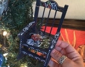 Rosemaled wooden rocking chair ornament