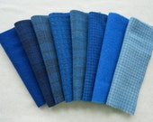 Hand Dyed Felted Wool Fabric in Blue , Dark Blue, and Royal Blue Blue Wool Bundle Quilting, Sewing, Wool Applique