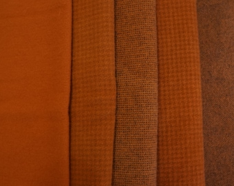 Rust Tones Hand Dyed Felted Wool Fabric - Hand Dyed - - 100% Wool