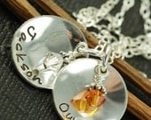 ON SALE Hand Stamped Mommy Jewelry, Double Domed Discs, Sterling Silver Personalized Necklace