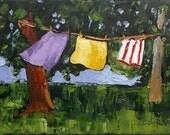 California Plein Air Landscape Lynne French Impressionist Painting BACKYARD CLOTHESLINE 9x12