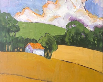 Impressionist Painting Plein Air Landscape PROVENCE France Summer Hills Lynne French 16x20