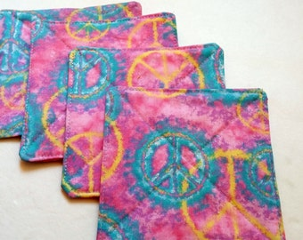 Fabric Coasters, Set of 4, Peace Signs, Hippie Coasters, Pink Tablecloth, Blue Peace Signs, Yellow Reversible Coasters, Quiltsy Handmade