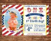Boy Girl Red White Blue Patriotic American Fireworks Firecracker July 4th Party Birthday Photo Picture Invitation - DIGITAL FILE