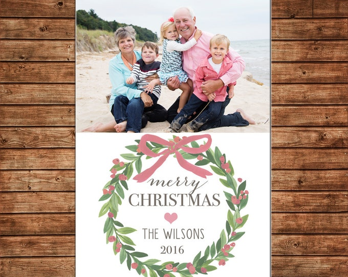 Photo Picture Christmas Holiday Card Watercolor Wreath Mistletoe Pink Bow Laurel - Digital File