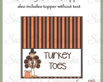 Turkey Toes Topper -  Digital Printable - Immediate Download