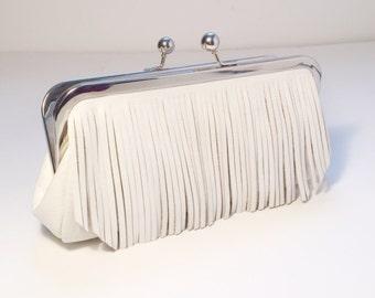 White Leather Fringe Clutch - Bridal - Purse - Wedding - Personalized - Gift