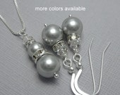 CUSTOM COLOR Bridesmaid Gift, Bridesmaid Jewelry Set, Swarovski Light Gray Pearl and Clear Crystal Bridesmaid Necklace, Personalized Gift